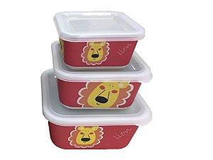 Kit ecológico com 3 potes Leão
