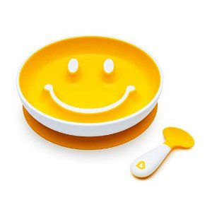 Prato Smile com Ventosa e Colher Amarelo