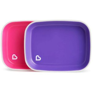 Conjunto com 2 pratos Rosa e Roxo Munchkin (Splash Toddler Plate)