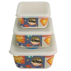 Kit ecológico com 3 potes Super Heroi