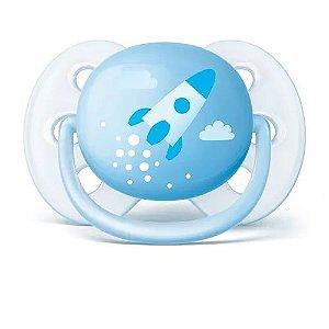 Chupeta Philips Avent Ultra Soft Decorada 0 a 6 Meses Azul (1 unidade)
