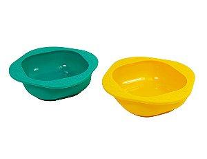 Kit com 2 tigelas em silicone - Amarela e Verde