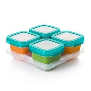 Bandeja com 4 potes de armazenamento com tampa Oxo Tot Teal (Baby Blocks)