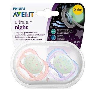 Chupeta Philips Avent Ultra Air Night 0 a 6 meses (Embalagem com 2 unidades SCF37612)