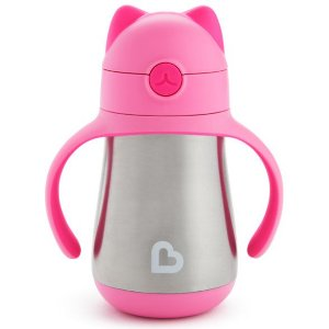 Copo com canudo Cool Cat™ Stainless Steel Munchkin Rosa