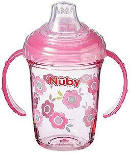 Copo em tritan com alça e bico de silicone Nuby Rosa Flor