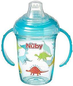Copo em tritan com alça e bico de silicone Nuby Azul Dino