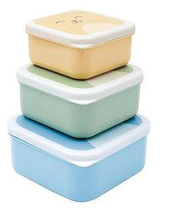 Kit com 3 potinhos Gumy Buba Azul