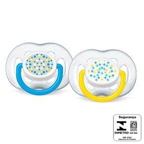 Chupeta Philips Avent Silicone 6 a 18 Meses - 2 Unidades (Contemporânea Azul e Amarela)