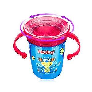 Copo 360 Nuby Wonder Cup com tampa higiênica e alças - Azul
