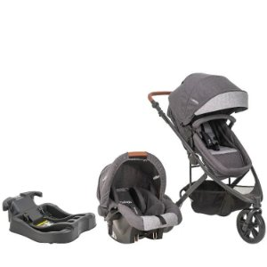Carrinho Trek com Bebê conforto e Base Kiddo - Melange com Grafite
