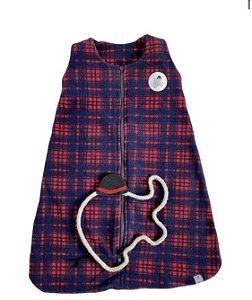 Saco de Dormir Infantil Bebê Soft Xadrez Azul :