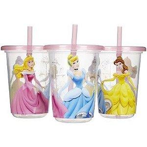 3 copos com canudo Princesas