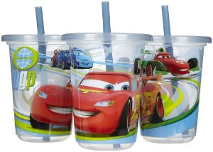 3 copos com canudo Carros