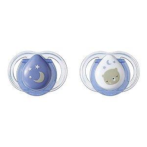 Chupeta Newborn Noite Tommee Tippee 2 Und 0-2 M Azul- TT009