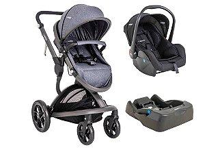 Carrinho Travel System Quantum Kiddo com Bebê Conforto e Base Melange com Azul