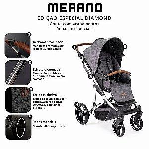Carrinho Merano 4 ASPHALT Diamond (Bebê Conforto Risus + Moises Soft +Shopping Bag) ABC Design