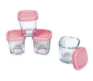 Kit com 4 potes de vidro Rosa