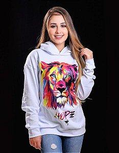 Casaco moletom leão cromia - branco