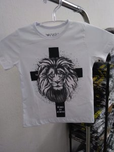 Camisa infantil king of kings  branca listra