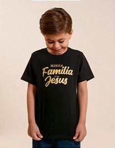 Camisa infantil minha familia é de jesus (preta)