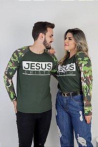 Manga longa jesus cristo (verde militar)