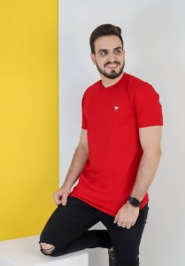 Camisa lisa Hasum ( cor vermelha ) tecido coton Especial (unissex)