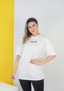 CAMISETA OVERSIZED BRANCA HASUM CENTRAL  (UNISSEX)