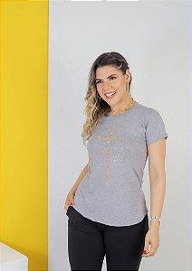 BATINHA GRAÇA CRUZ STRASS CINZA MESCLA