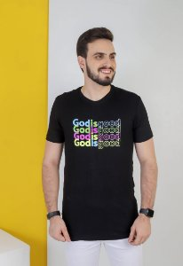 CAMISETA GOD IS GOOD COLOR. PRETA UNISSEX
