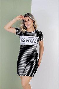 vestido aplique yeshua (listras brancas)
