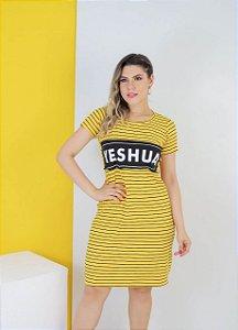 vestido aplique yeshua (cor amarelo)