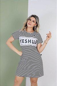 vestido aplique yeshua (listras pretas)