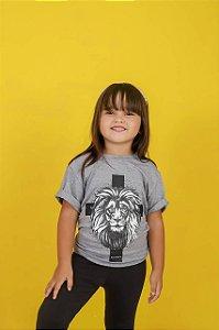 Camiseta infantil king of kings (cor cinza mescla) unissex