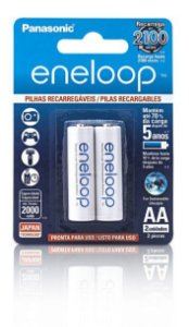 Pilha Recarregável Eneloop Panasonic Pequena AA C/02