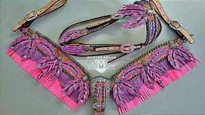 Conjunto Peiteira e Cabeçada Pena Pink/ Lilás