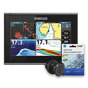 GPS Sonar Simrad GO9 c/ Transdutor p/ Casco e Carta Náutica