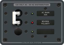 Painel de Comando Elétrico Náutico AC Main + 1 Posição BlueSea 8029
