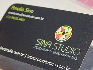 Cartões de Visita - 300g - 4x4 Lam. Fosca+Verniz Localizado F/V 4 Cantos Arredondados
