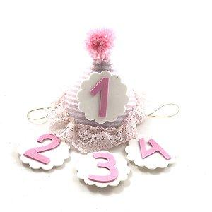 Chapéu mesversário babado rosa
