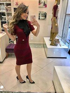 Vestido Jéssica Tecido Jacquard Estampa Geométrica - Moda Evangélica