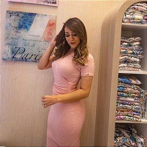 Vestido Márcia em malha Canelada - Rosa Quartzo - Moda Feminina Evangélica