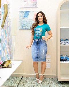 Saia Jeans Caroline  Moda Feminina