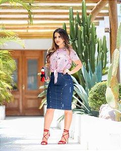 Saia Jeans Rebeca com elastano - Moda Feminina Moda Evangélica