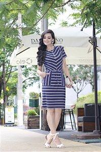 Vestido Vivi em malha viscolaycra azul marinho - Moda feminina Moda Evangélica