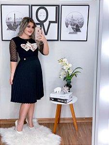 Saia Plissada Teresa Preta - Moda Enncante
