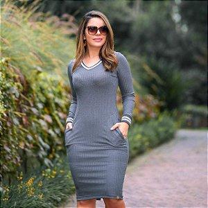 fa695a8d9 Vestido Karen Cinza Malha Canelada Premium - Moda Feminina