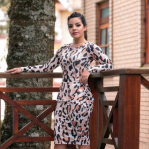 2775e31a4 Vestido Pilar em Suplex Onça - Moda Feminina