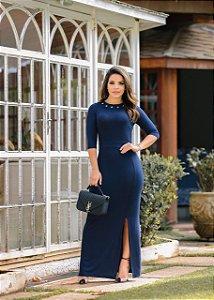 Vestido Eva em viscolaycra Marinho - Moda Feminina Evangelica