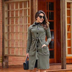 Sobretudo Helise Verde Militar - Moda Feminina